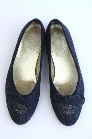 Chanel Denim Flats - Chanel Vintage Clothing and Shoes at Rice and Beans