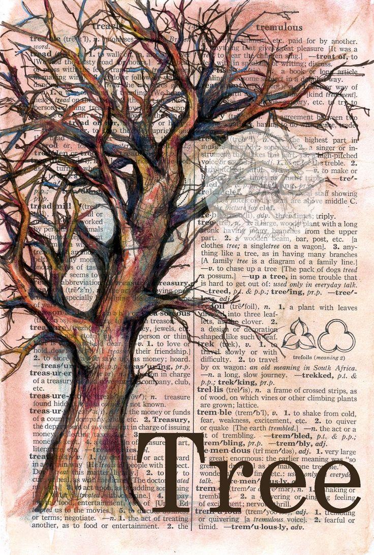 """Árvore"" 6 ""x 8,5"" Desenho de mídia mista angustiado, página original do dicionário …   – Inspiration und Ideen für Art Journals und kreatives Schreiben"