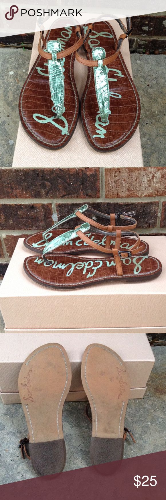 Sam Edelman GiGi sandal Sam Edelman Gigi sandal in metallic mint green. Love these but I am wanting just a tan pair. They are in perfect condition. Size 6. Sam Edelman Shoes Sandals