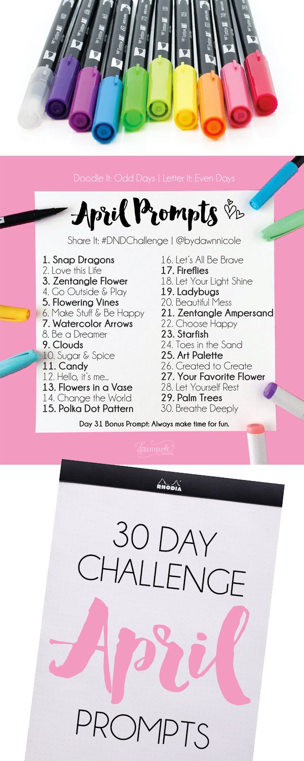 April Challenge Prompts. Join these free 30 day challenges on Instagram to practice improve your art + lettering skills! | dawnnicoledesigns.com