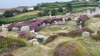 Halangy Down ancient village - St Mary's, Isles of Scilly, looking across the central sound from St Mary's towards Tresco and St Martin's