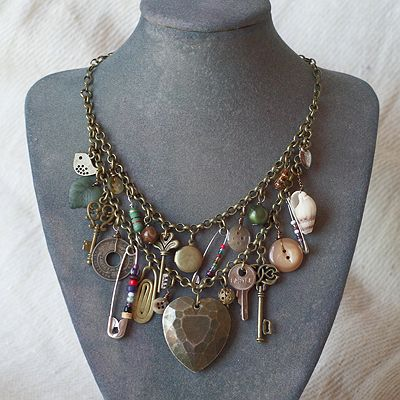 Bronze Upcycled Charm Necklace The design used broken jewellery to make this eclectic mix of bronze metal and charms