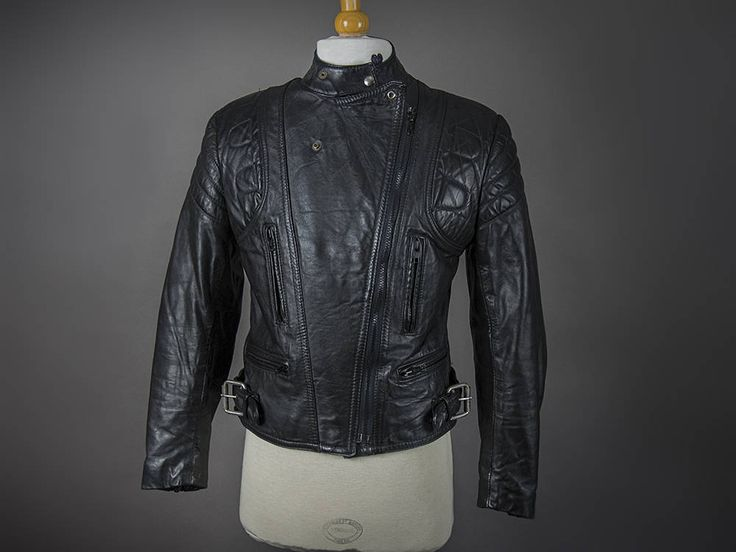 Vintage 1980's Cafe Racer Motorcycle Jacket, Retro 1970's Cafe Racer Black Leather Motorcycle Jacket, Retro 1980's Black  Motorcycle Jacket by OSHAWA66collective on Etsy