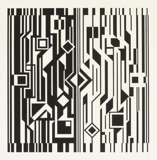 NB Cinetique, Oil by Victor Vasarely (1906-1997, Hungary)