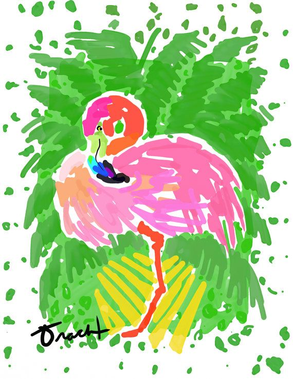 Art Print 8x10 Pink Flamingo Traveller's Palm by artist Kelly Tracht, Art Poster Lilly Pulitzer Style Painting Palm Beach Regency
