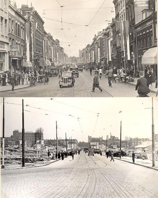 Jonker Fransstraat before and after the bombing.