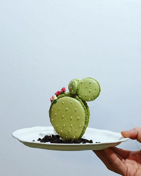 Cactus made of macarons is a recent creation by NYC-based pastry chef Ayako Kurokawa at Pâtisserie Burrow.