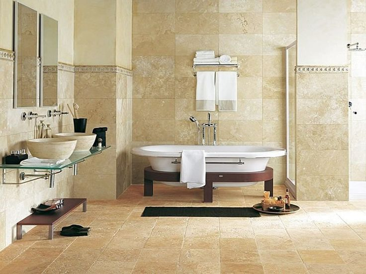 extravagant modrn style small bathroom tiles ideas white tub design with beige concrete flooring finished in minimalist interior decoration - Bathroom Tile Ideas Cheap