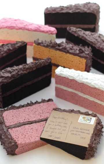 Mail a slice of cake. Love this! Doing this for birthdays!