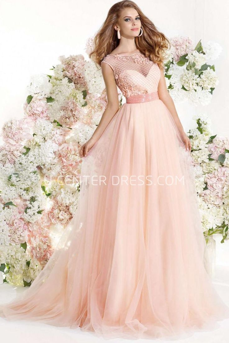 US$150.79-Elegant Floral Bateau Neck Tulle Blushing Pink Wedding Guest Dress. http://www.ucenterdress.com/a-line-floral-bateau-neck-cap-sleeve-tulle-prom-dress-pMK_303322.html.  Shop for summer wedding guest dresses, fall wedding guest dress, wedding guest dress ideas, winter wedding guest dress, plus size wedding guest dress, formal wedding guest dress, beach wedding guest dress, black tie wedding guest dress, wedding guest dress with sleeves. wedding guest dress outdoor. We have great 2016…