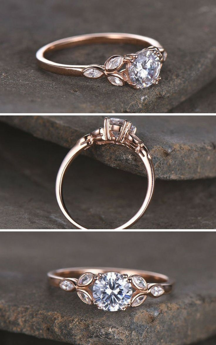 Sterling silver ring/Round cut Cubic Zirconia engagement ring/CZ wedding ring/Th…