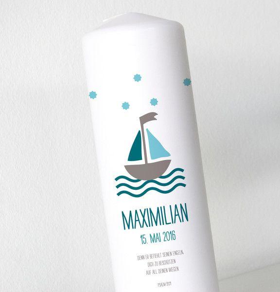 Taufkerzen - Taufkerze - Schiff - Junge - ein Designerstück von printsonalities bei DaWanda
