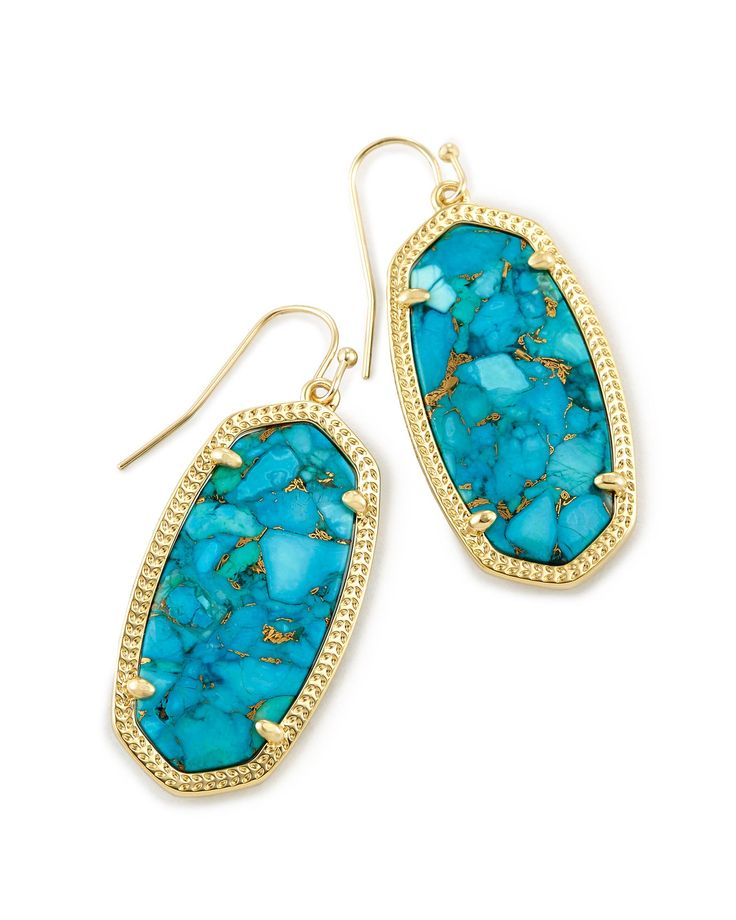 Elle Drop Earrings in Bronze Veined Turquoise- Happy BIRTHDAY to me!!