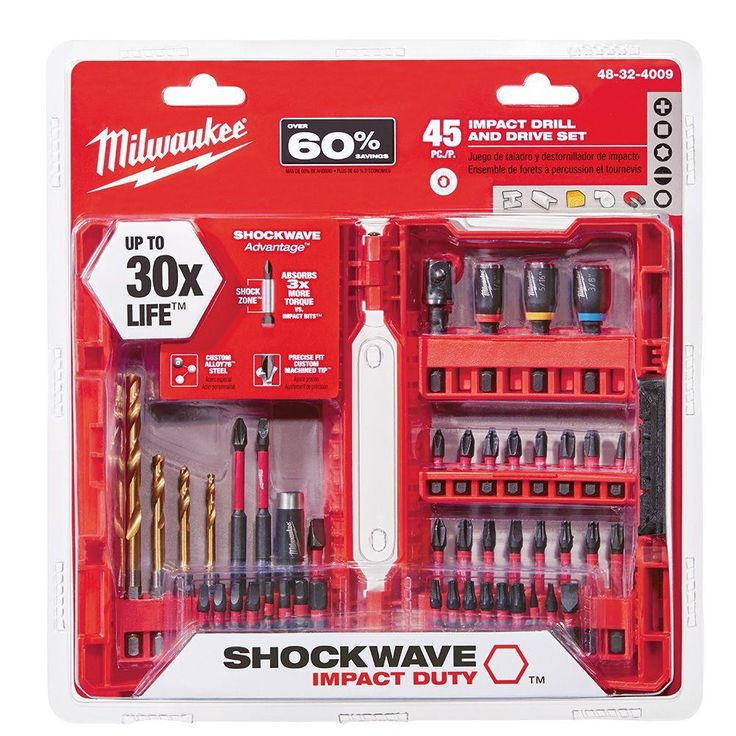 Milwaukee Shockwave Impact Duty Steel Drill and Driver Set (45-Piece)-48-32-4009 - The Home Depot