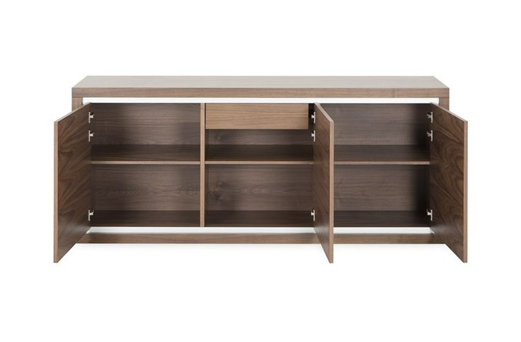 Complementing the Gatsby dining table, this spacious sideboard evokes a timeless appeal. The traditional design features four doors finished with a brushed stainless steel trim, offering a smooth and sleek appearance.