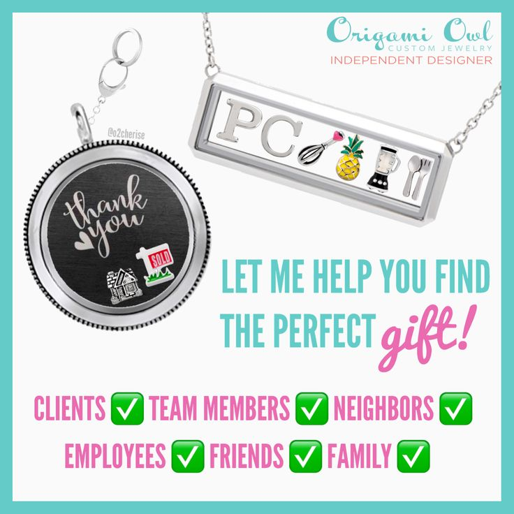 Thank you gift ideas for realtors, Pampered Chef consultants, or other direct sales companies. Origami Owl graphic by Cherise Imbert