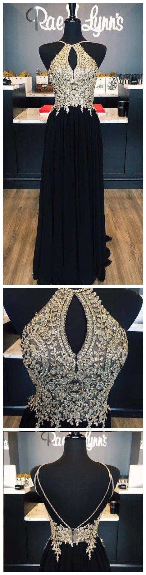 gold lace appliqued black chiffon prom dress,so cut!!long prom dress,prom dress 2017,pageant dress