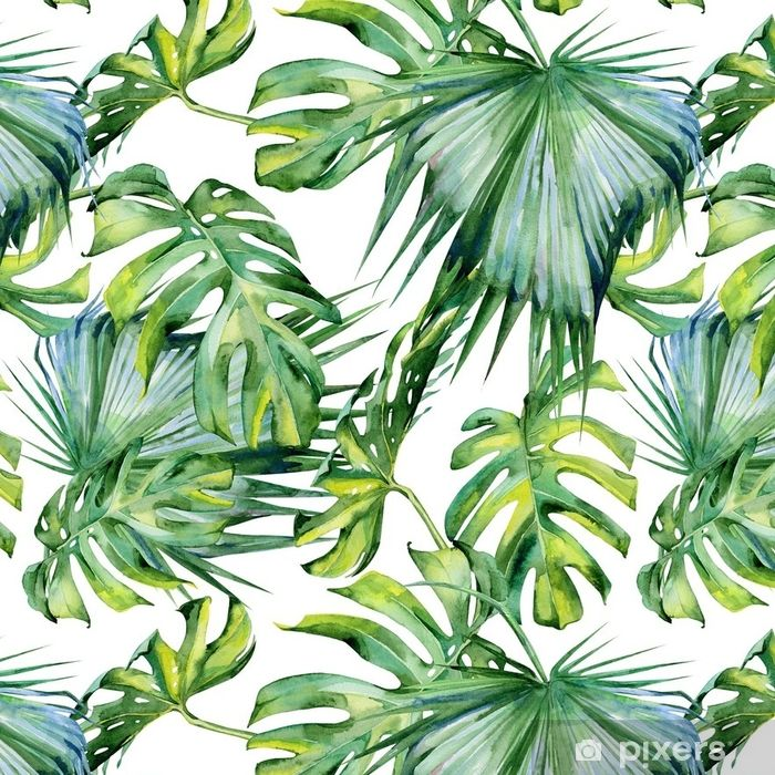 Seamless Watercolor Illustration Of Tropical Leaves Dense Jungle