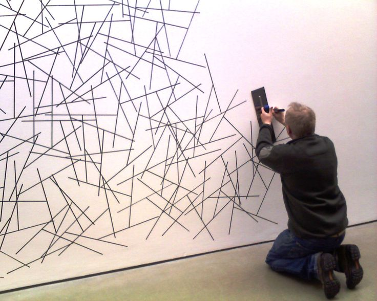Sol LeWitt wall drawing being made at Dia Beacon