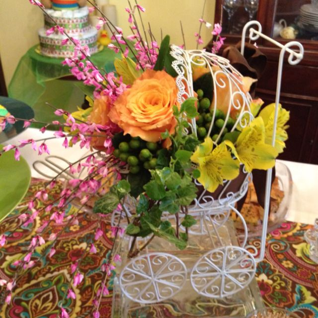 baby carriage flower arrangement for baby shower baby girl