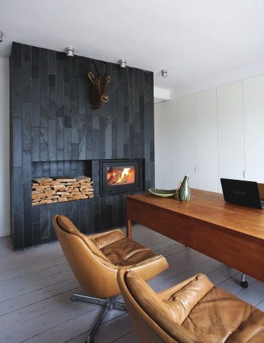 : Modern Fireplaces, Color Palettes, Offices Design, Black Tile, Black Fireplaces, Fireplaces Wall, Offices Chairs, Offices Leather Chairs, Woods Fireplaces