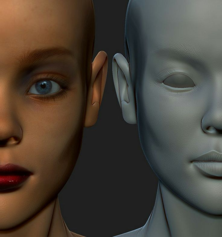 Base polypaint Coloring of female head sculpt