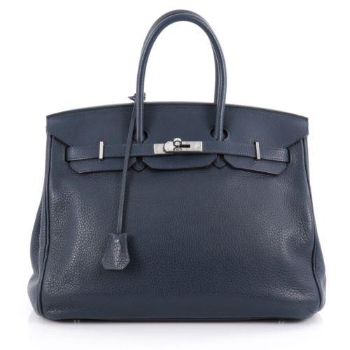 Hermes Birkin Handbag Bleu de Prusse Clemence with Palladium Hardware 35