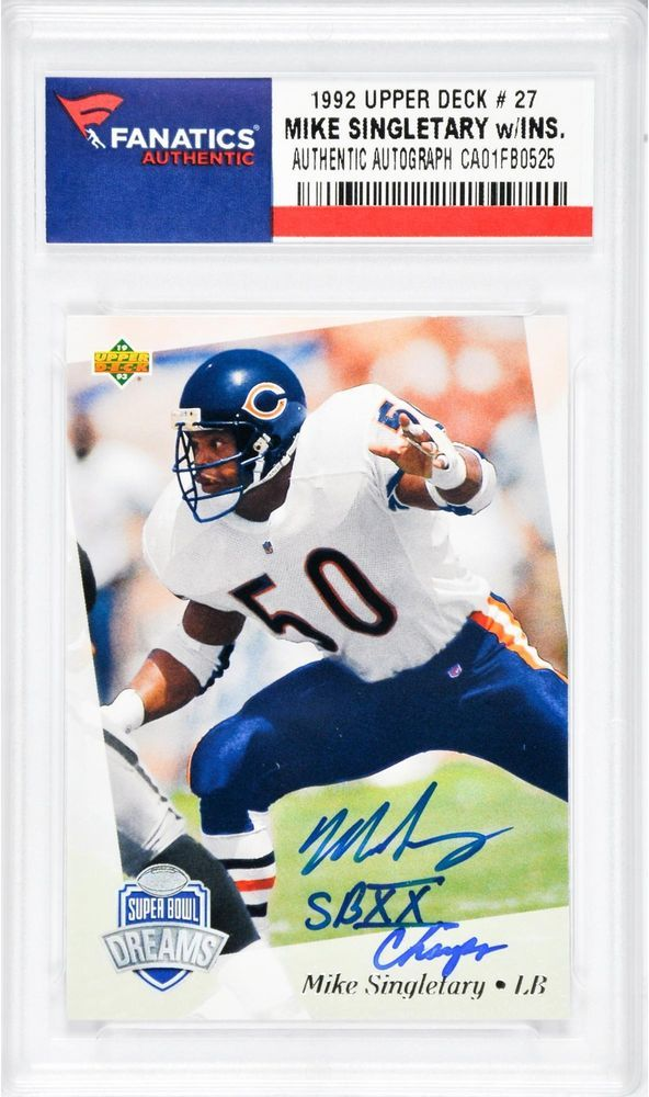 Mike Singletary Chicago Bears Signed 1992 Upper Deck Card with SB XX Champs  Insc #Football