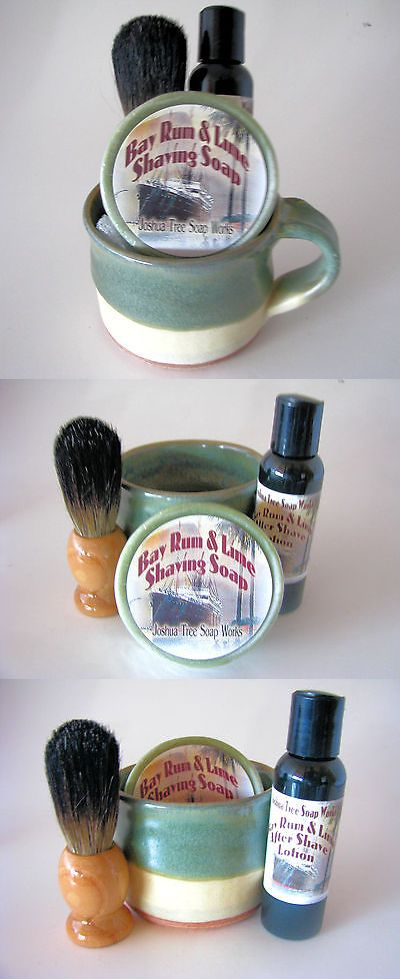 Shaving Brushes and Mugs: Bay Rum Lime Shaving Soap W Green And Brown Mug, Brush And Lotion Gift Set -> BUY IT NOW ONLY: $45 on eBay!