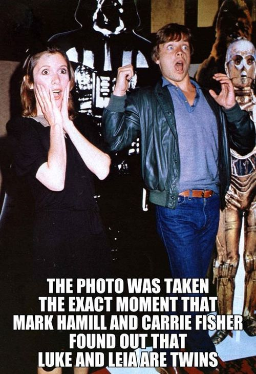The photo was taken the exact moment that Mark Hamill and Carrie Fisher found out that Luke and Leia are twins...
