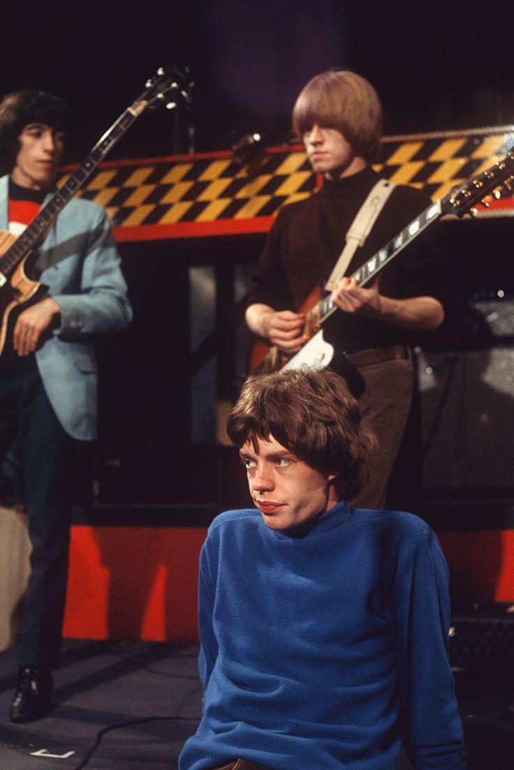 Bill Wyman, Brian Jones, and Mick Jagger...Mick looks so lovely in that shade of blue