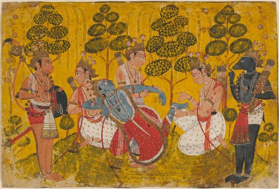Painting  , Album Leaf  Indian  ,  18th century  Creation Place: Pahari, Northern India, India  Opaque watercolor and gold on paper  17.5 x 26 cm (6 7/8 x 10 1/4 in.)