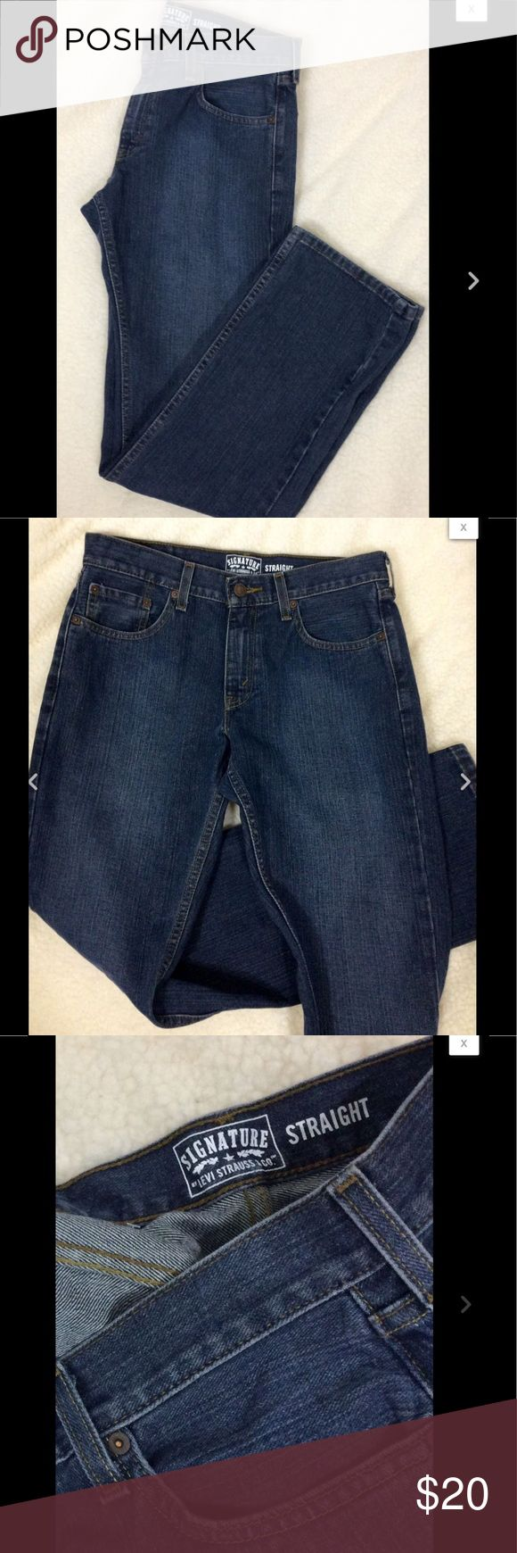 """LEVI STRAUSS Mens Denim Straight Cut Jeans 32W 30L LEVI STRAUSS Mens Denim Straight Cut Jeans / 100% Cotton Size 32W 30L   Great condition  Waist 30"""" Inseam 32""""  Front Rise 9""""   Thanks for looking!   B727 Jeans Straight"""