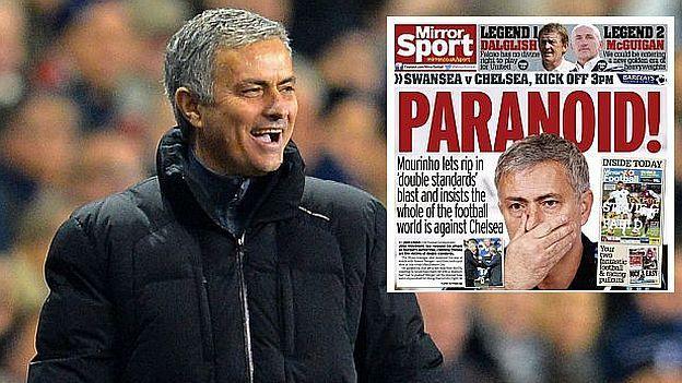 """José Mourinho está acostumbrado a encender los medios con sus declaraciones. Y en las últimas semanas, el entrenador del Chelsea ha sido criticado por hablar de los árbitros en la Premier League. Pero el medio que más se ensañó con el portugués, fue el Daily Mirror, quien lo llamó """"Paranoico"""". Enero 17, 2015"""