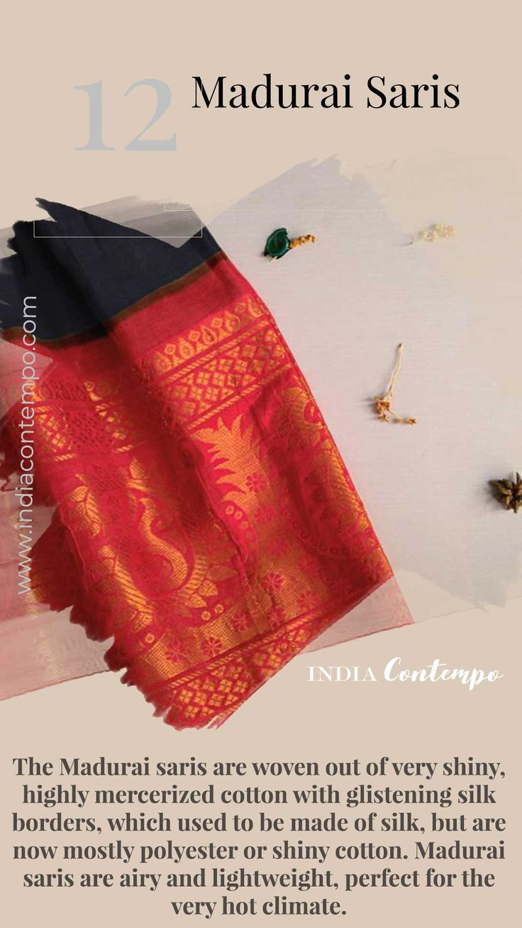The Madurai saris are woven out of very shiny, highly mercerized cotton with gli... 4