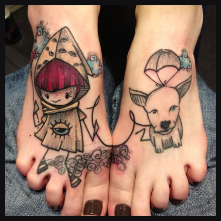 Fun connecting tattoos by Mope, France. So cute!