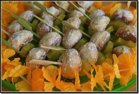 Luau Party Food Ideas   While still warm I put each on onto a small bamboo skewer (from Cost ...