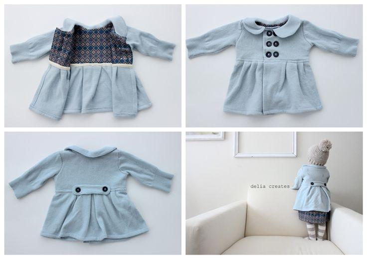 Baby Dress Coat from an old Sweater - tutorial - Bildanleitung