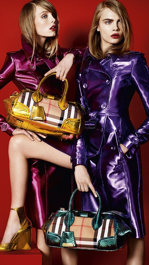 Cara Delevingne and Edie Campbell star in the Burberry S/S13 campaign featuring the Blaze bag in iconic house check