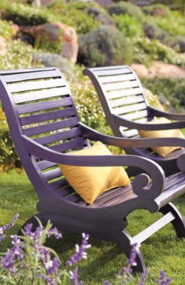 gardening furniture to match your flowers, ie. these chairs near lavender plants.