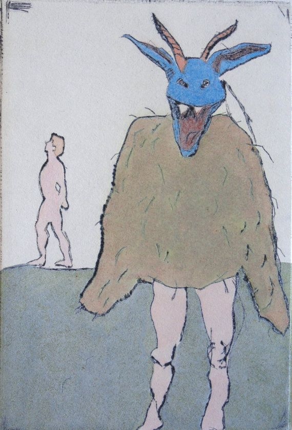 Devil Etching Hand Colored Muted Colors Printmaking Works On Paper By Jamie Bunney