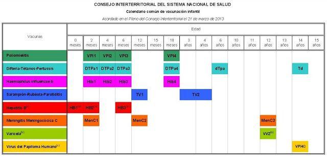 Calendario común de vacunación infantil  2013