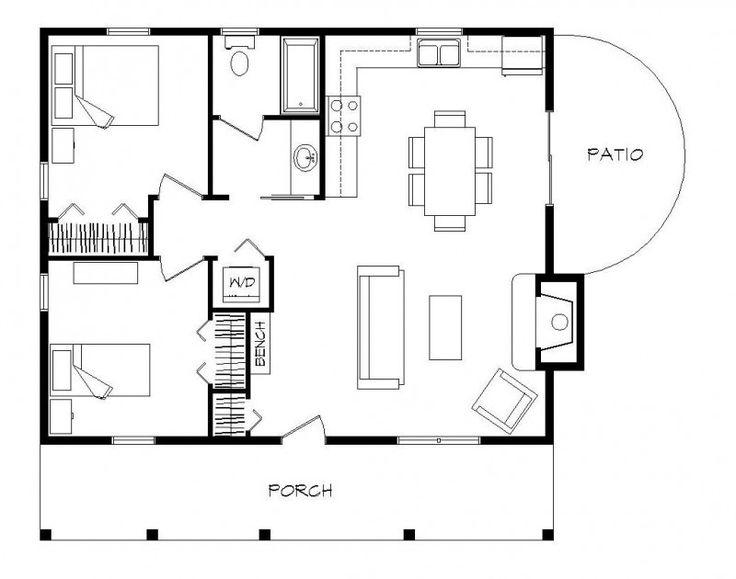 2 bedroom log cabin 700 sq ft log home timber frame for Square log cabin plans