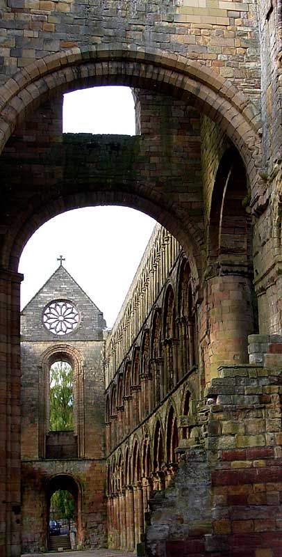 Jedburgh Abbey, Scotland. Jedburgh Abbey, a ruined Augustinian abbey which was founded in the 12th century, is situated in the town of Jedburgh, in the Scottish Borders 10 miles north of the border with England at Carter Bar. Jedburgh is the largest town on the A68 between Newcastle upon Tyne and the Scottish capital, Edinburgh.