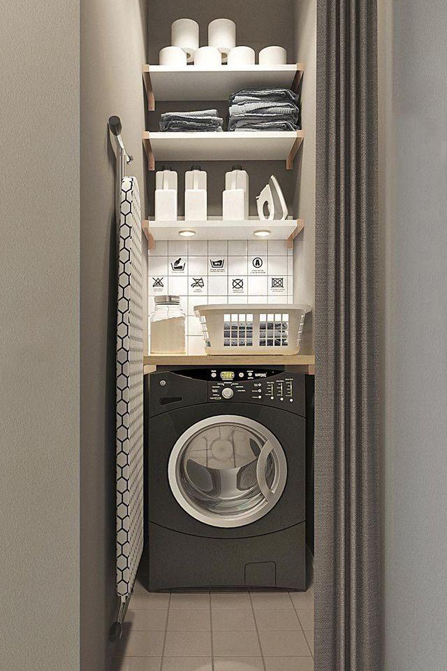Ma machine à laver, je la cache  derrière un rideau coulissant