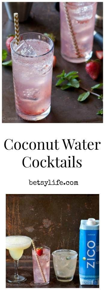 You know coconut water is full of electrolytes and minerals, but it's also delish in adult beverages! Try all of these awesome coconut water cocktails — Spicy Tequila & Lemonade Cocktail, Frozen Pineapple Coconut Rum, and Sparkling Strawberry Gin! #betsylife #coconutwater #coconutwatercocktails #healthyadultdrinks
