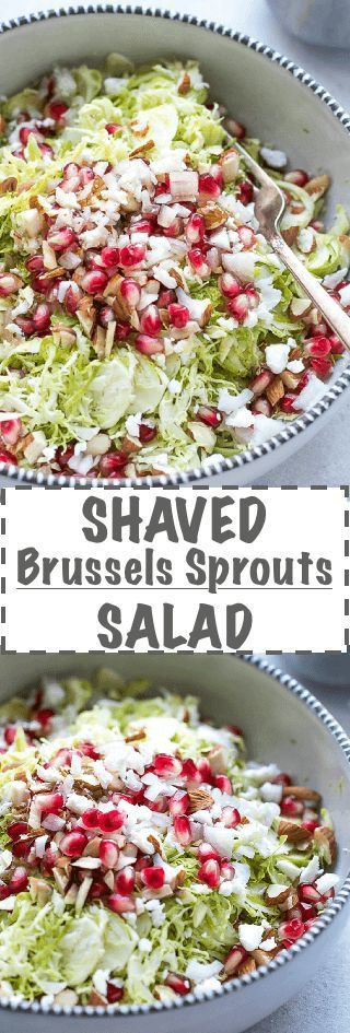 Shaved Brussel Sprouts Salad Recipe - simple, light and nutritious salad, made with raw Brussel Sprouts, pomegranate, feta, shallot and white balsamic vinegar dressing.  via @cookinglsl