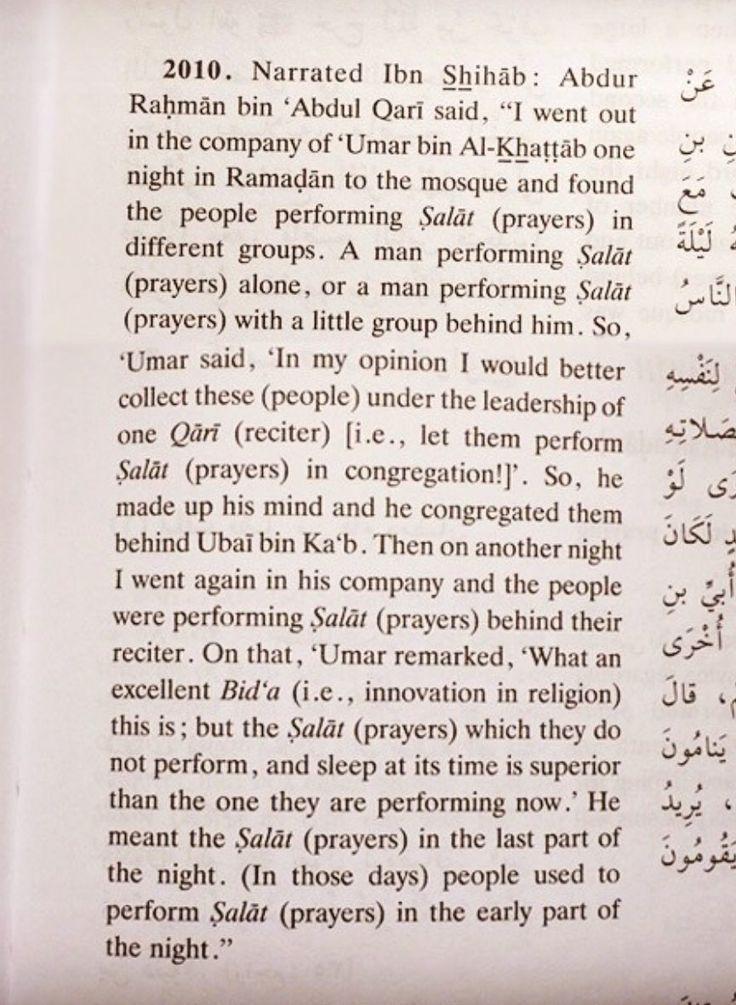 Bukhari: 'Umar admits to creating an innovation (Bid'ah) - Taraweeh prayers