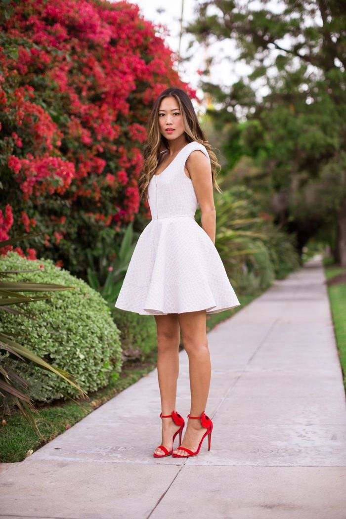 LA fashion blogger Aimee Song @Aimee Song in One Dress A Day's Queens jacquard fit and flare dress!