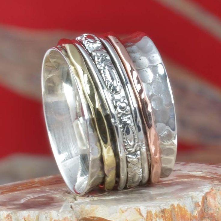 NEW FAISHION 925 STERLING SILVER THREE TONE SPINNER RING 7.07g R11330 SZ-5.5 #Handmade #Ring